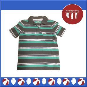 Boys Jumping Beans Turquoise and Gray Stripe Shirt